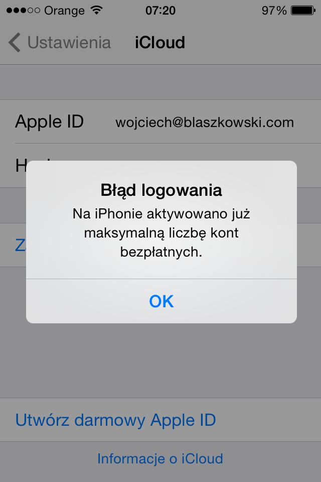 iPhone - błąd logowania